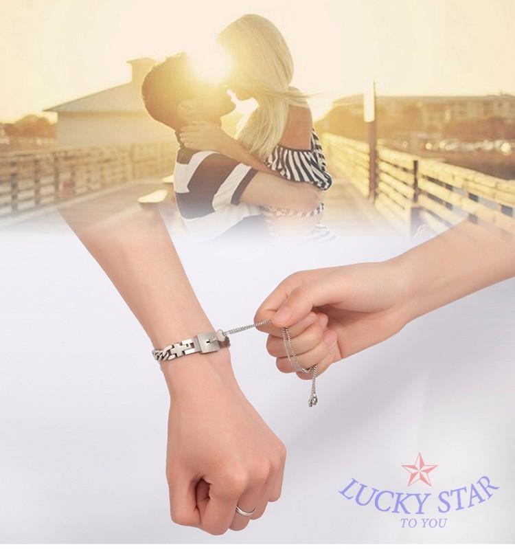 Trang sức đôi - Vòng tay ổ khóa nam - Dây chuyền chìa khóa nữ Tình Yêu ý nghĩa