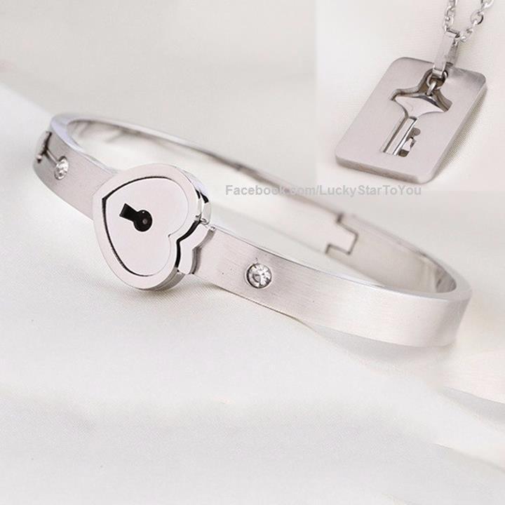 Trang sức đôi-Vòng tay ổ khóa dây chuyền chìa khóa TiTan