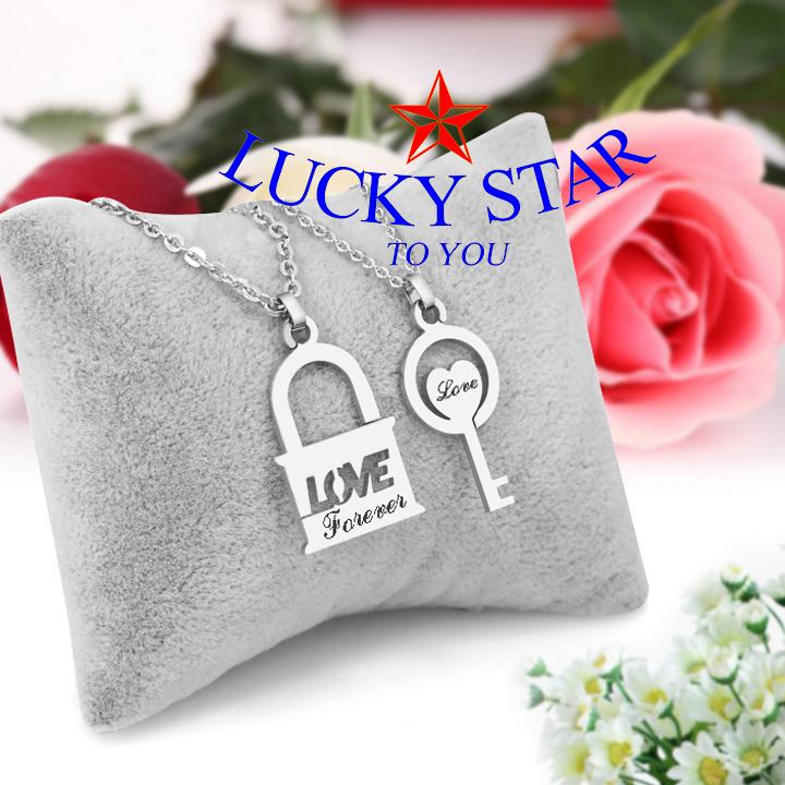 Dây chuyền cặp đôi ổ khóa chìa khóa chữ love độc đáo ý nghĩa