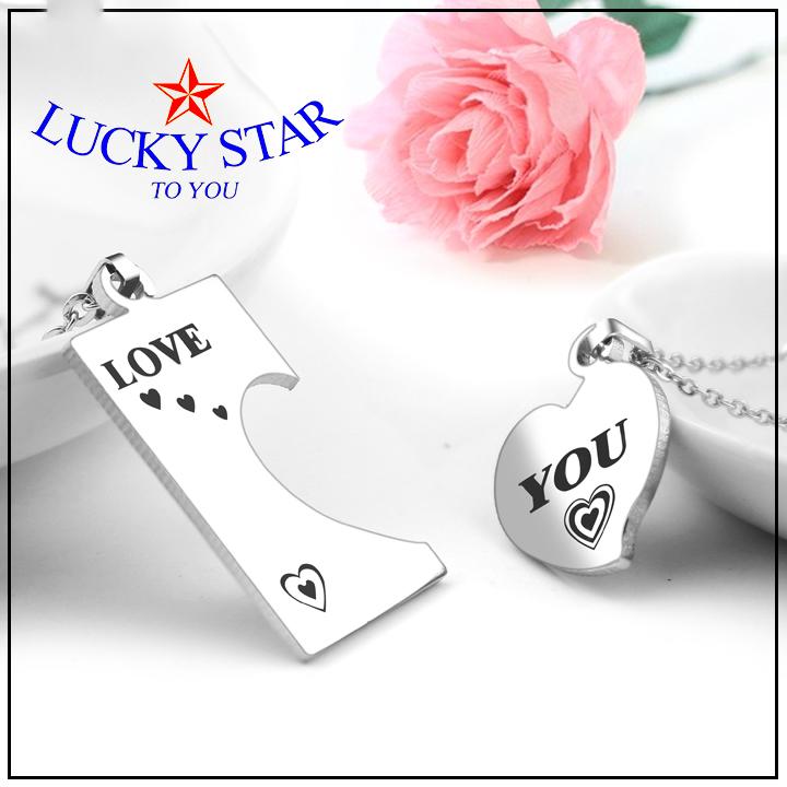 dây chuyền cặp đôi mảnh ghép ngôi sao chữ love
