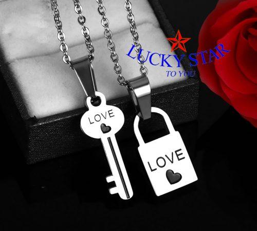Dây chuyền cặp đôi ổ khóa chìa khóa hình chữ Love