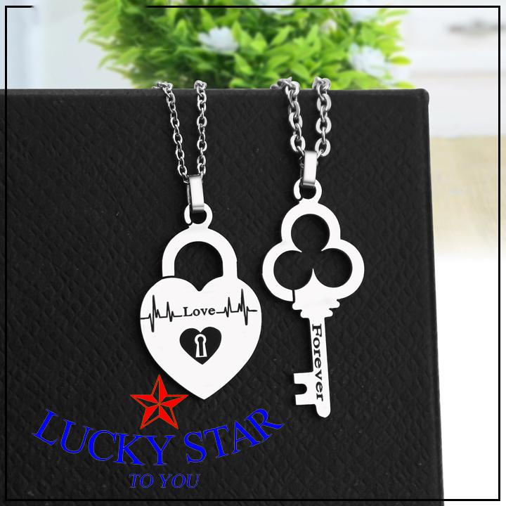 Dây chuyền cặp đôi forever love ổ khóa chìa khóa